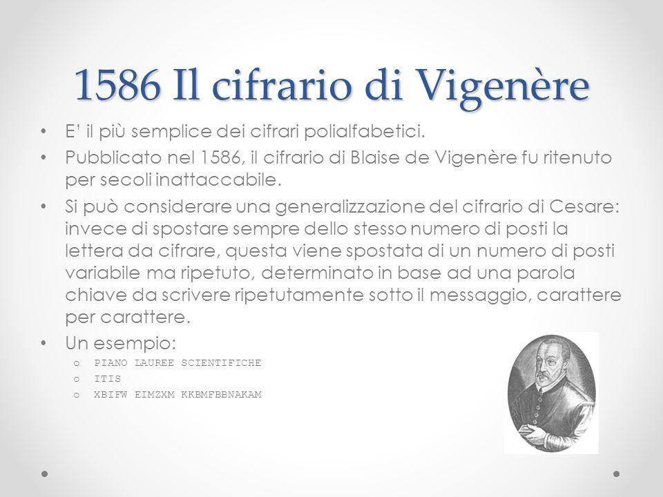 1586 Il cifrario di Vigenère
