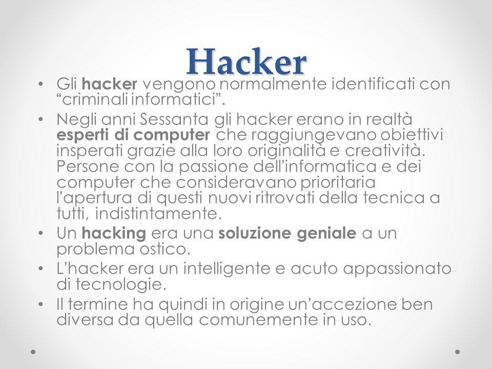 HackerGli hacker vengono normalmente identificati con criminali informatici .