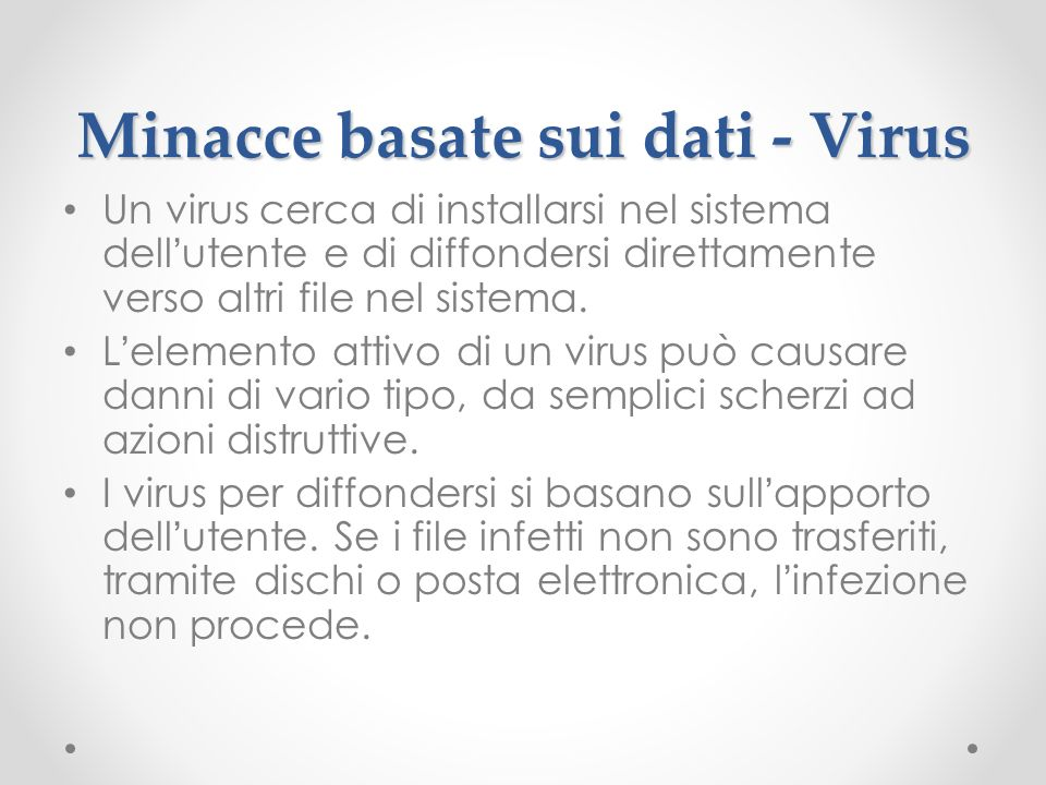 Minacce basate sui dati - Virus