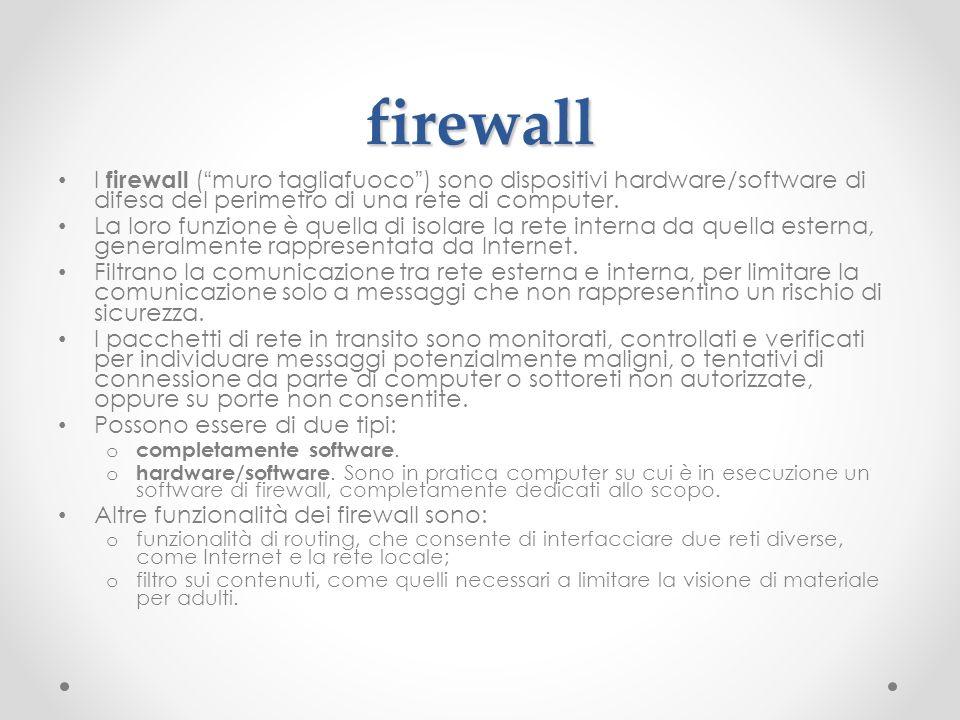 firewall I firewall ( muro tagliafuoco ) sono dispositivi hardware/software di difesa del perimetro di una rete di computer.