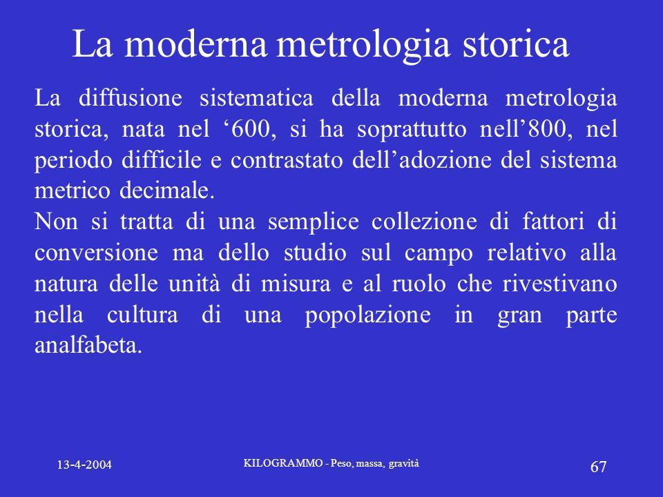 La moderna metrologia storica
