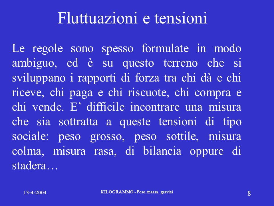 Fluttuazioni e tensioni