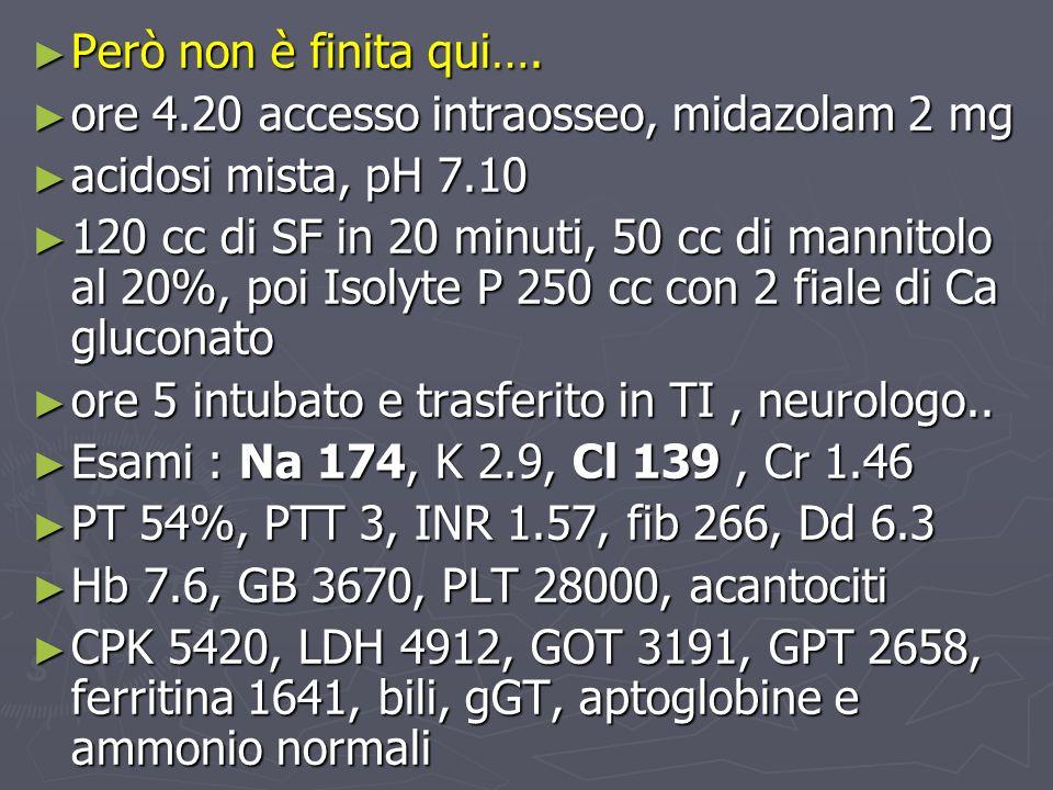 Però non è finita qui…. ore 4.20 accesso intraosseo, midazolam 2 mg. acidosi mista, pH 7.10.