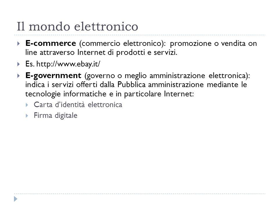 Il mondo elettronicoE-commerce (commercio elettronico): promozione o vendita on line attraverso Internet di prodotti e servizi.