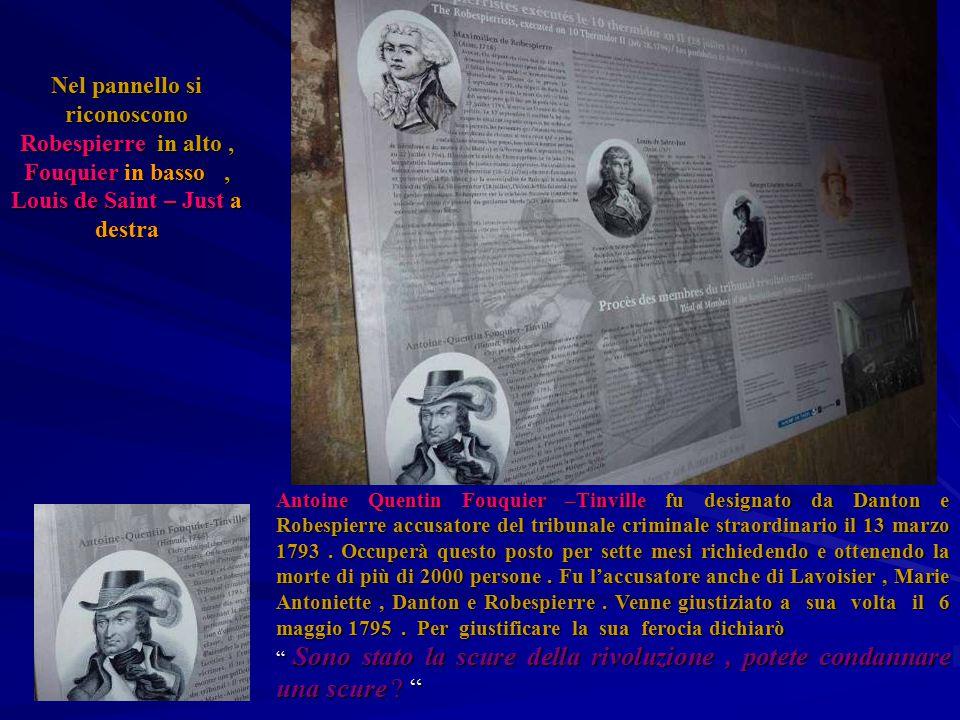 Nel pannello si riconoscono Robespierre in alto , Fouquier in basso , Louis de Saint – Just a destra