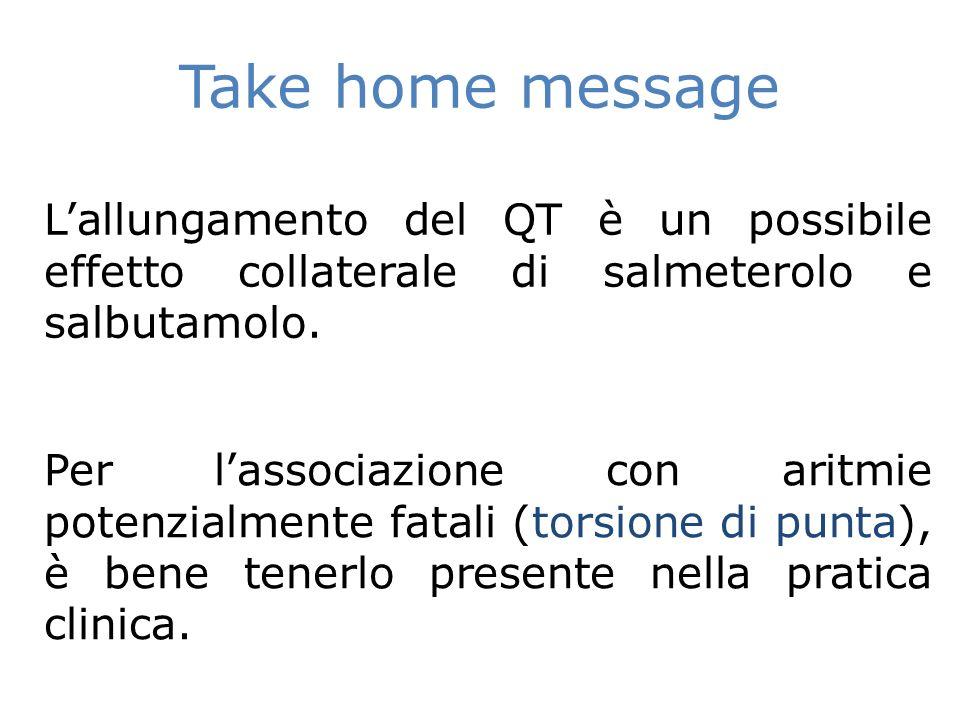 Take home message L'allungamento del QT è un possibile effetto collaterale di salmeterolo e salbutamolo.