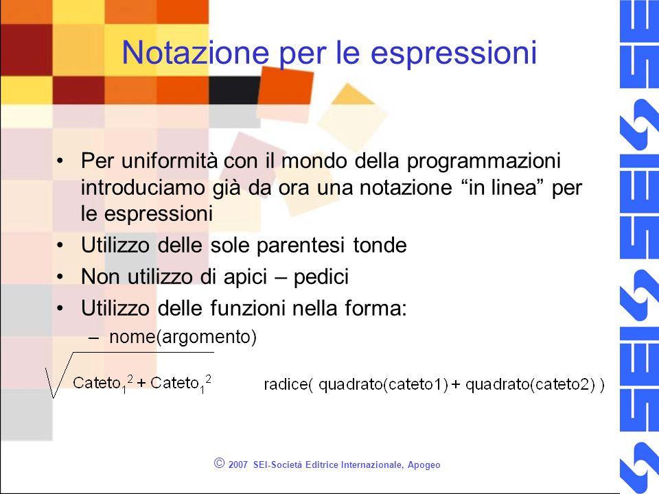 Notazione per le espressioni