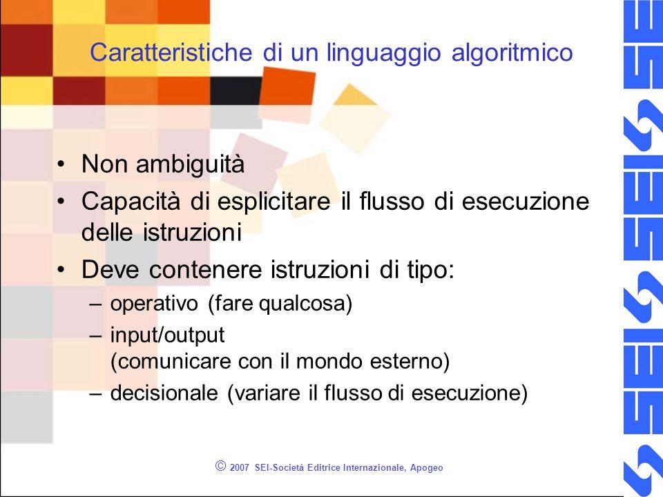 Caratteristiche di un linguaggio algoritmico