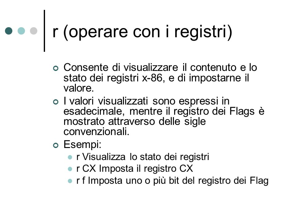 r (operare con i registri)