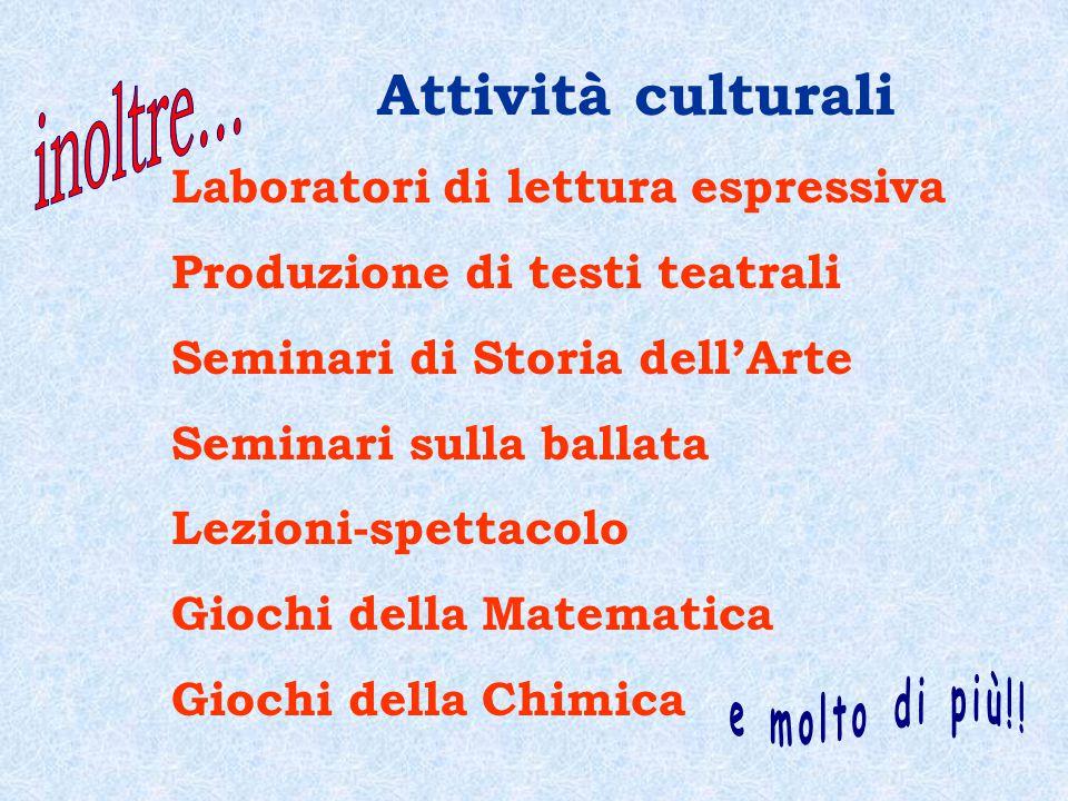 Attività culturali inoltre... Laboratori di lettura espressiva