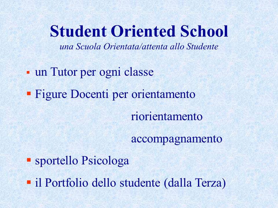 Student Oriented School una Scuola Orientata/attenta allo Studente