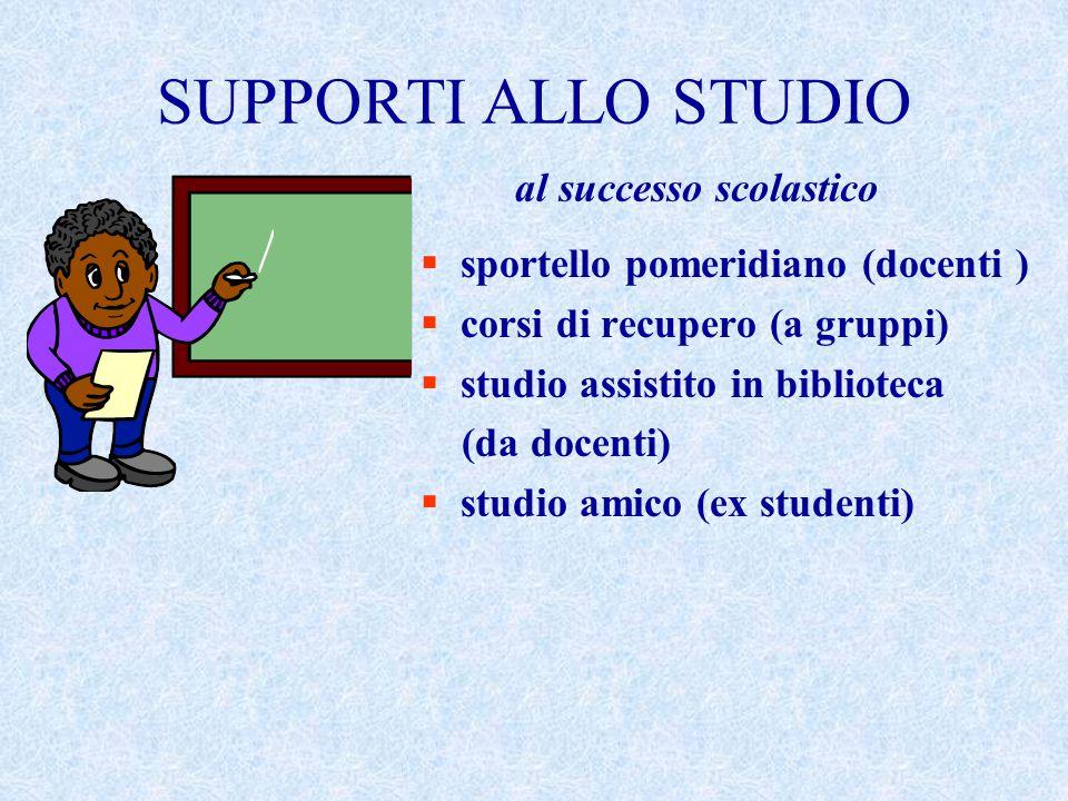 SUPPORTI ALLO STUDIO al successo scolastico