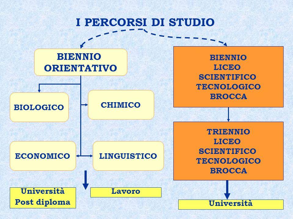 I PERCORSI DI STUDIO BIENNIO ORIENTATIVO BIENNIO LICEO SCIENTIFICO