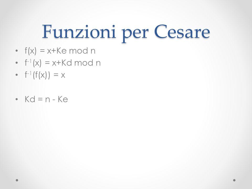 Funzioni per Cesare f(x) = x+Ke mod n f-1(x) = x+Kd mod n