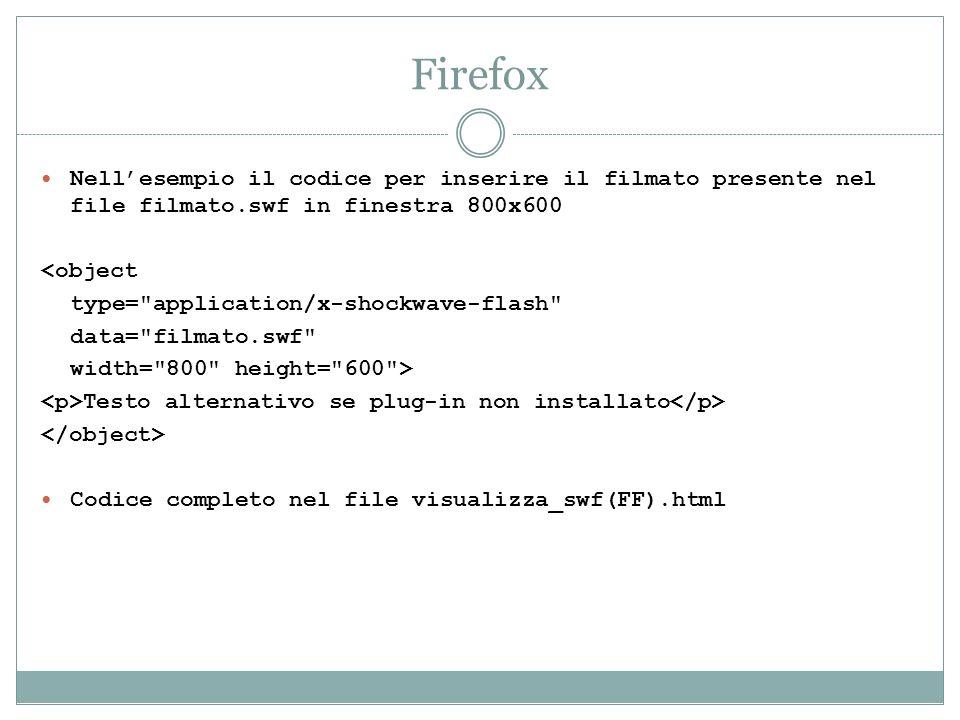 FirefoxNell'esempio il codice per inserire il filmato presente nel file filmato.swf in finestra 800x600.