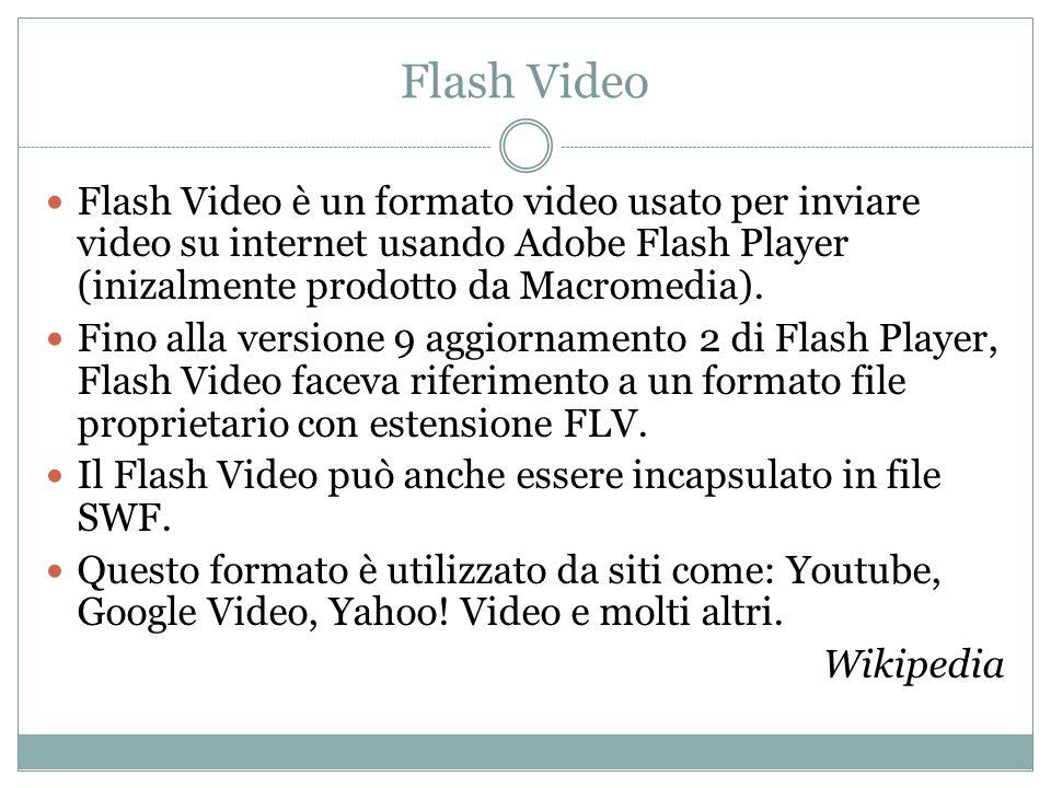 Flash Video Flash Video è un formato video usato per inviare video su internet usando Adobe Flash Player (inizalmente prodotto da Macromedia).