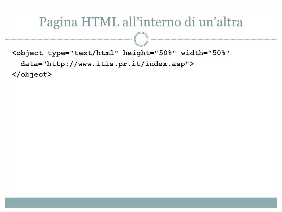 Pagina HTML all'interno di un'altra