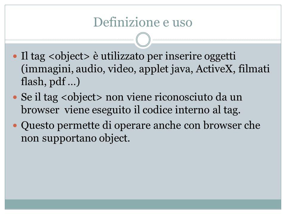 Definizione e usoIl tag <object> è utilizzato per inserire oggetti (immagini, audio, video, applet java, ActiveX, filmati flash, pdf …)