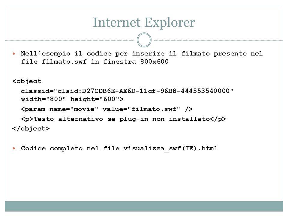 Internet Explorer Nell'esempio il codice per inserire il filmato presente nel file filmato.swf in finestra 800x600.