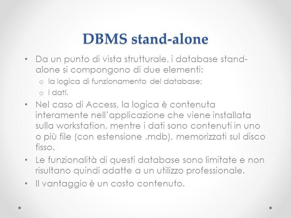 DBMS stand-alone Da un punto di vista strutturale, i database stand-alone si compongono di due elementi: