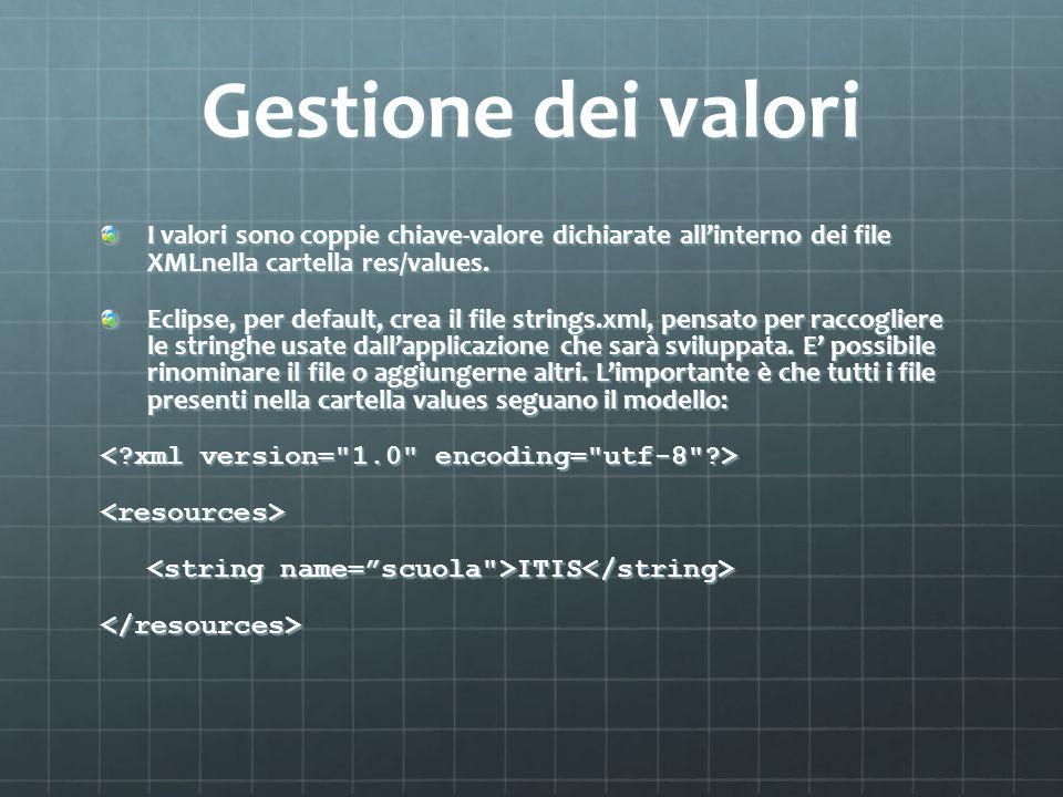 Gestione dei valori I valori sono coppie chiave-valore dichiarate all'interno dei file XMLnella cartella res/values.
