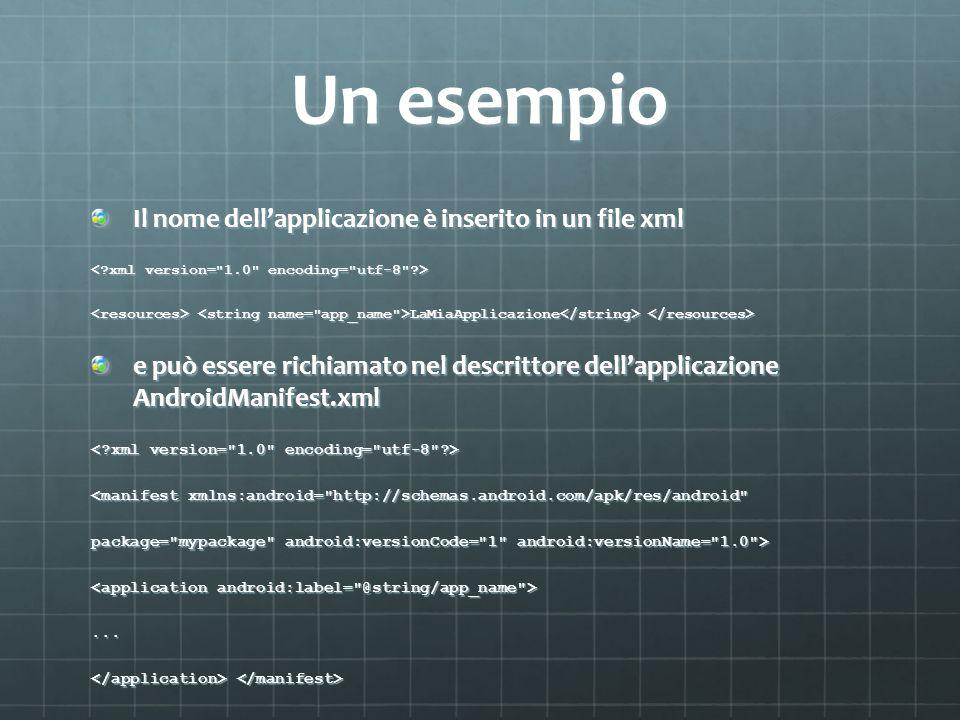 Un esempio Il nome dell'applicazione è inserito in un file xml