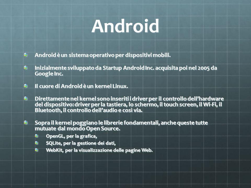 Android Android è un sistema operativo per dispositivi mobili.