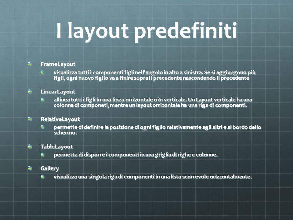I layout predefiniti FrameLayout LinearLayout RelativeLayout