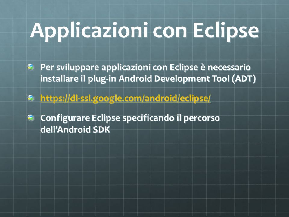 Applicazioni con Eclipse