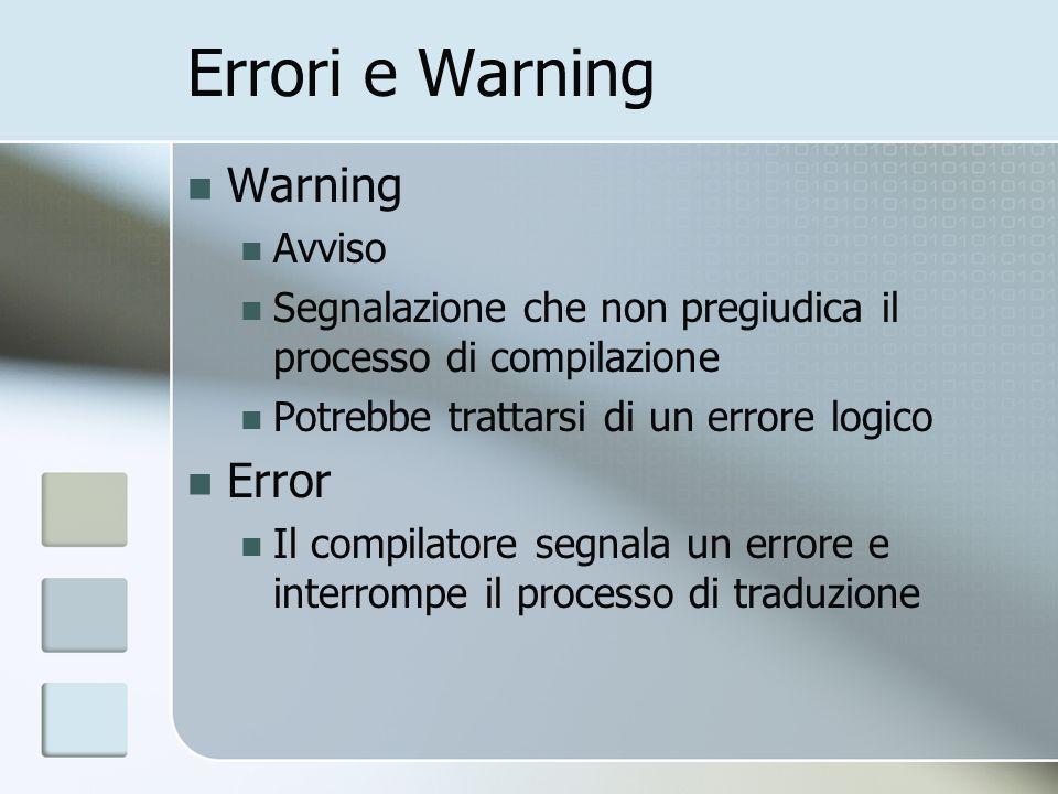 Errori e Warning Warning Error Avviso