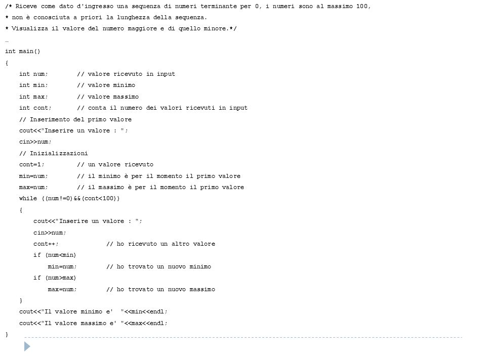 /* Riceve come dato d ingresso una sequenza di numeri terminante per 0, i numeri sono al massimo 100, * non è conosciuta a priori la lunghezza della sequenza.