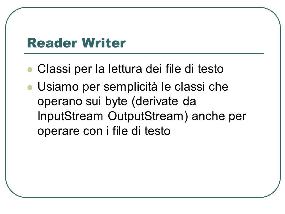 Reader Writer Classi per la lettura dei file di testo