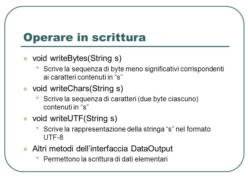 Operare in scrittura void writeBytes(String s)