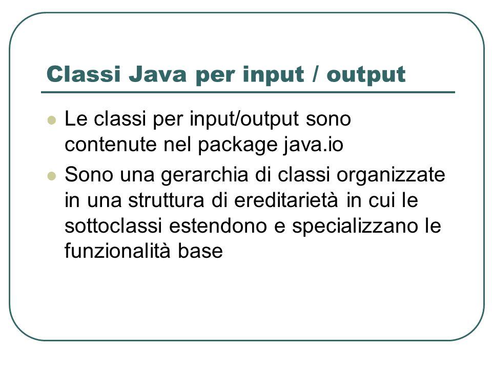 Classi Java per input / output