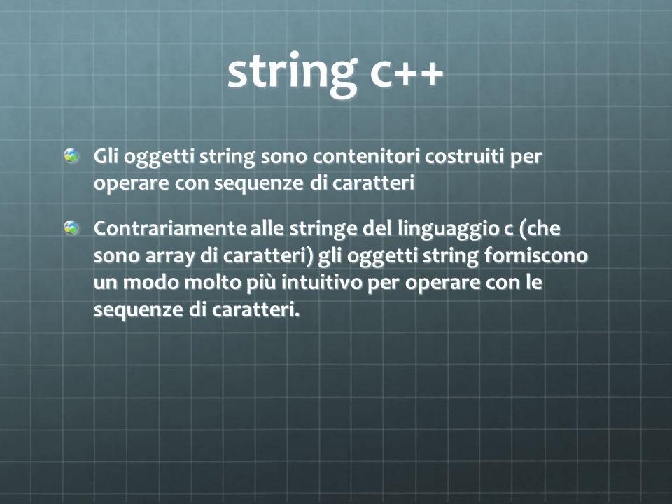 string c++Gli oggetti string sono contenitori costruiti per operare con sequenze di caratteri.