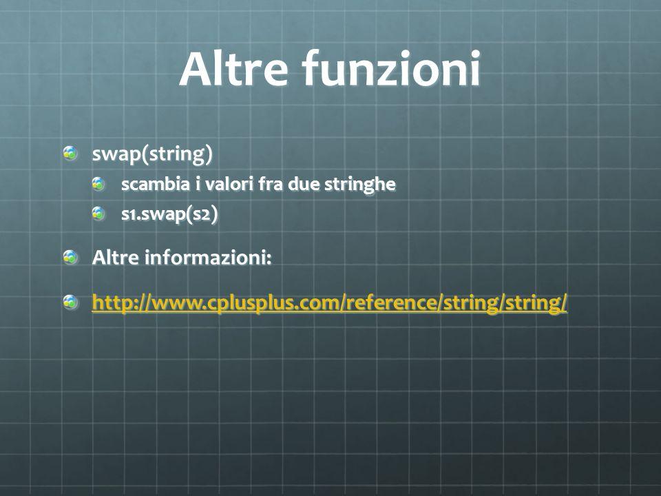 Altre funzioni swap(string) Altre informazioni:
