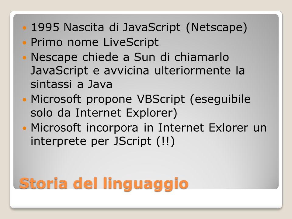 Storia del linguaggio 1995 Nascita di JavaScript (Netscape)