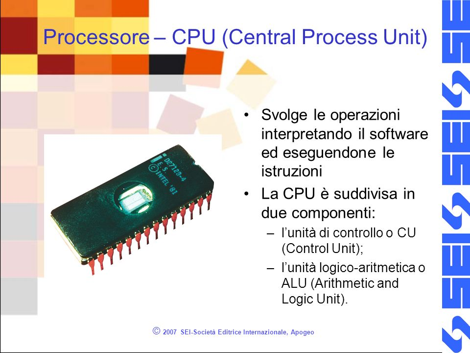 Processore – CPU (Central Process Unit)
