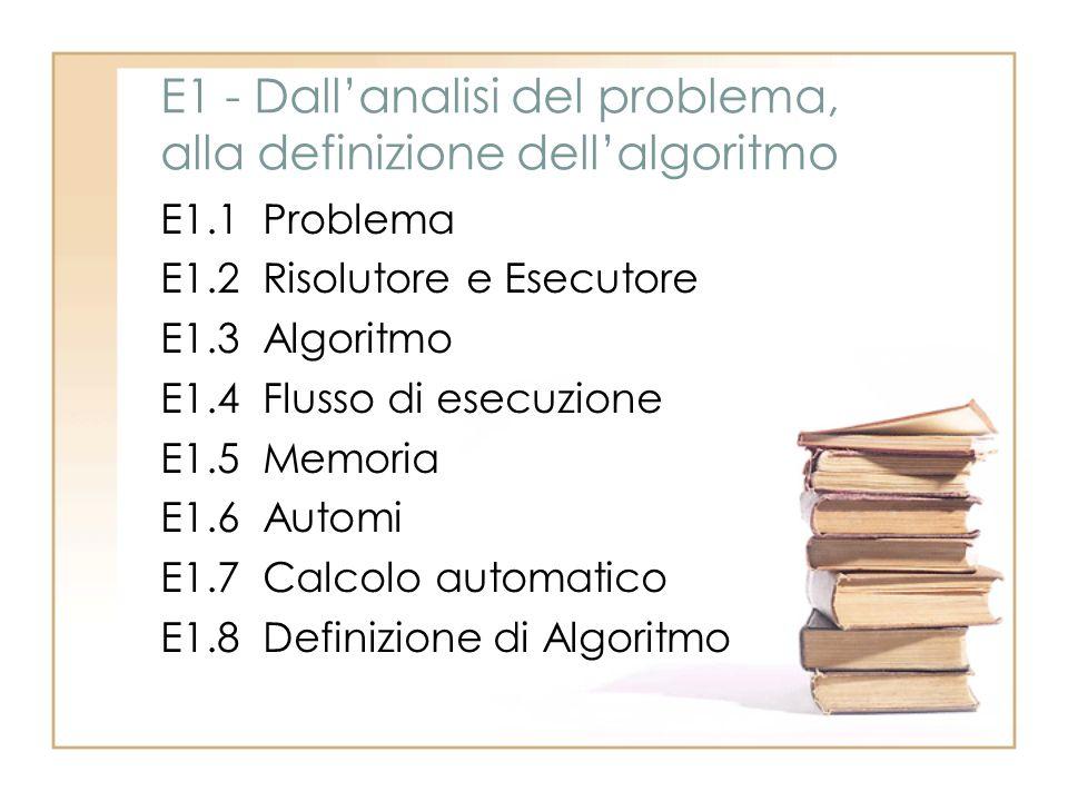 E1 - Dall'analisi del problema, alla definizione dell'algoritmo