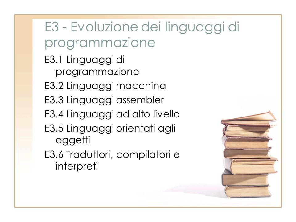 E3 - Evoluzione dei linguaggi di programmazione