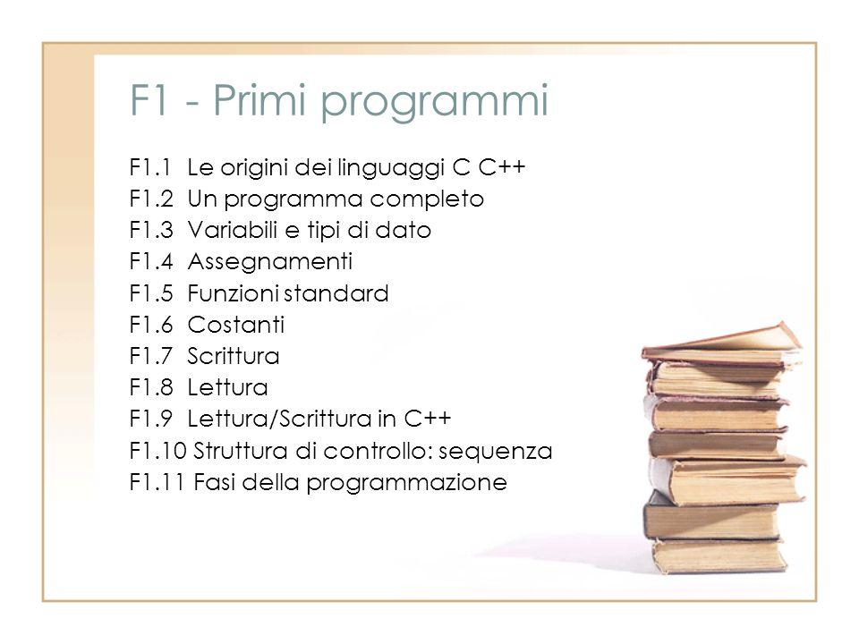 F1 - Primi programmi