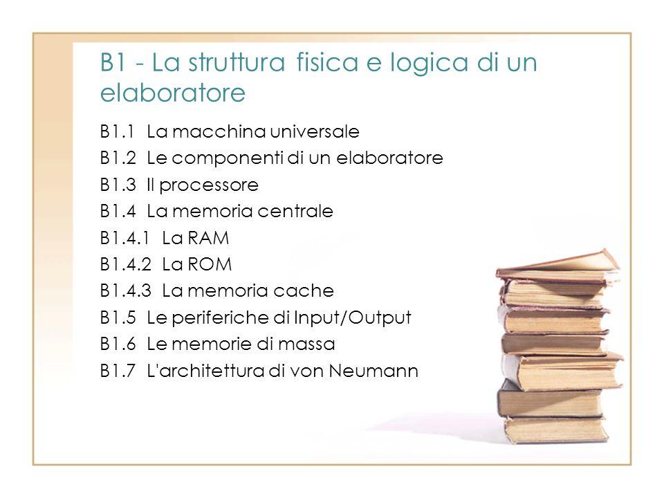 B1 - La struttura fisica e logica di un elaboratore