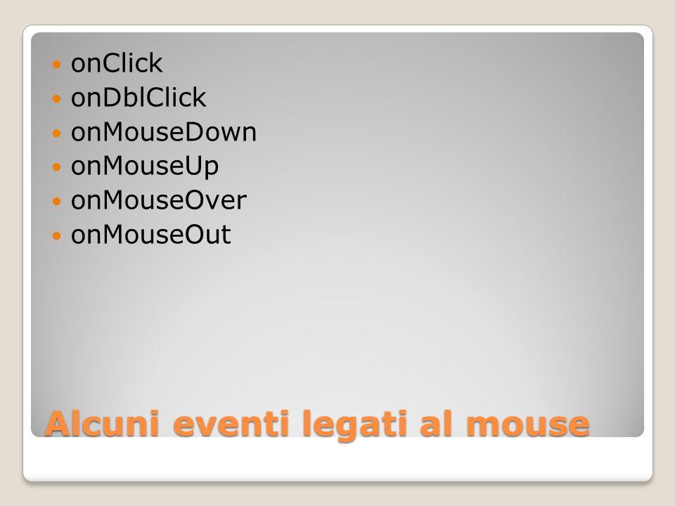 Alcuni eventi legati al mouse