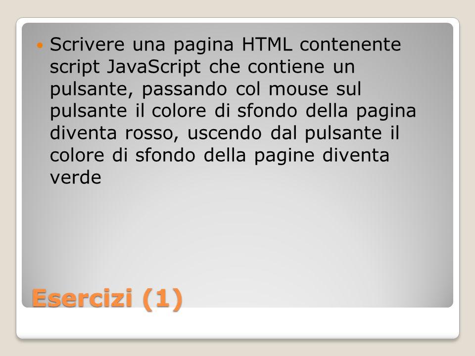 Scrivere una pagina HTML contenente script JavaScript che contiene un pulsante, passando col mouse sul pulsante il colore di sfondo della pagina diventa rosso, uscendo dal pulsante il colore di sfondo della pagine diventa verde