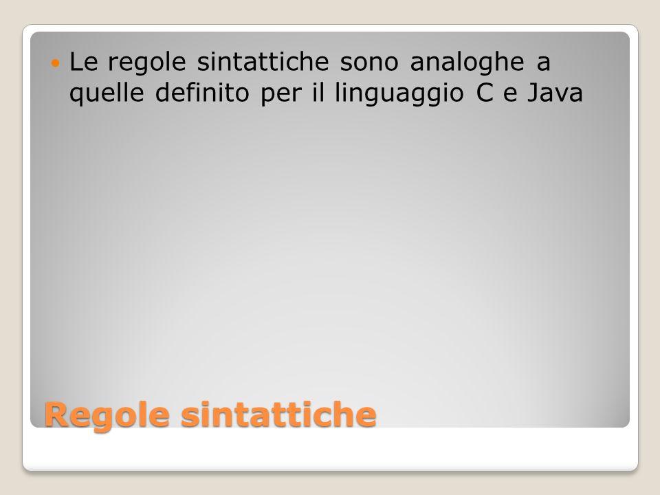 Le regole sintattiche sono analoghe a quelle definito per il linguaggio C e Java