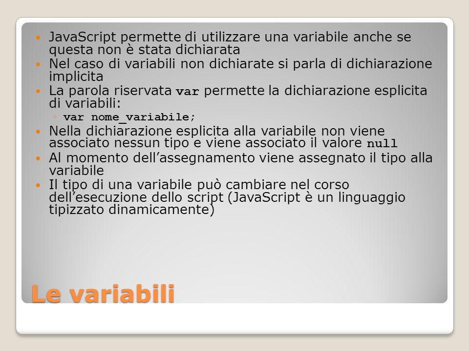 JavaScript permette di utilizzare una variabile anche se questa non è stata dichiarata
