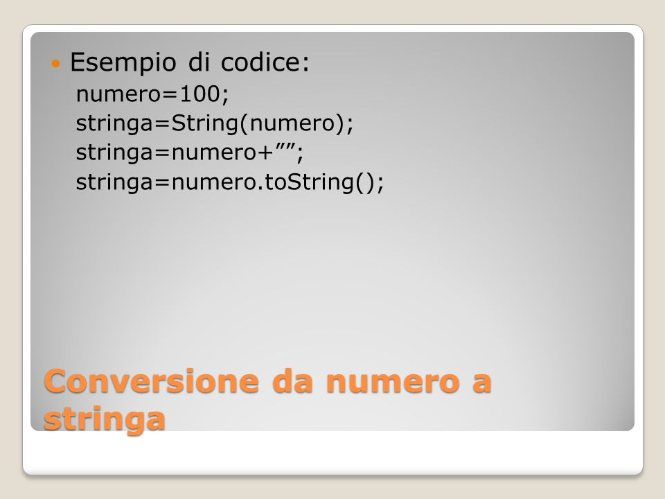 Conversione da numero a stringa