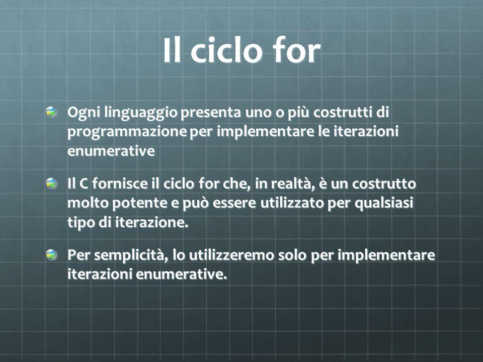 Il ciclo for Ogni linguaggio presenta uno o più costrutti di programmazione per implementare le iterazioni enumerative.