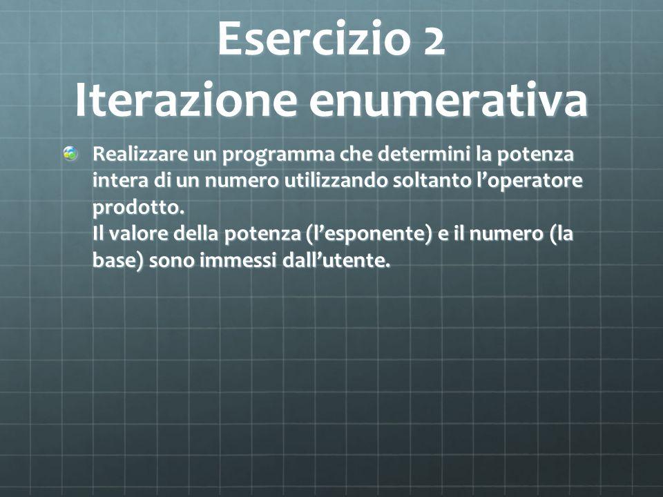 Esercizio 2 Iterazione enumerativa