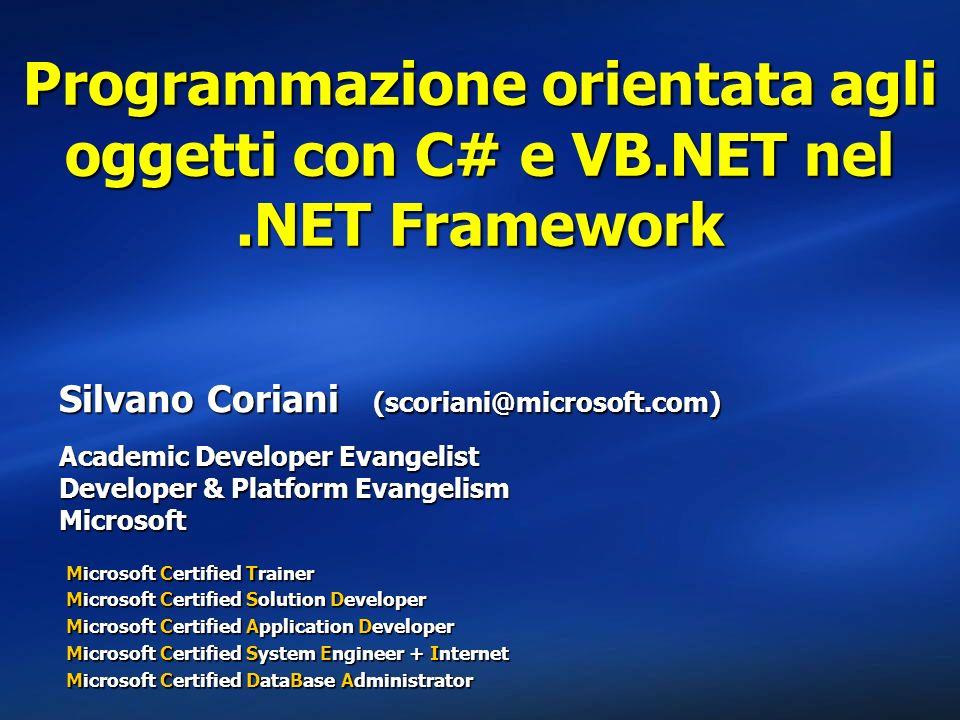 Programmazione orientata agli oggetti con C# e VB. NET nel